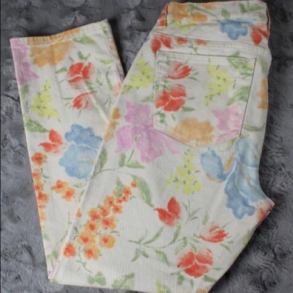 Ralph Lauren Denim - Ralph Lauren Cream Jeans with Flowers